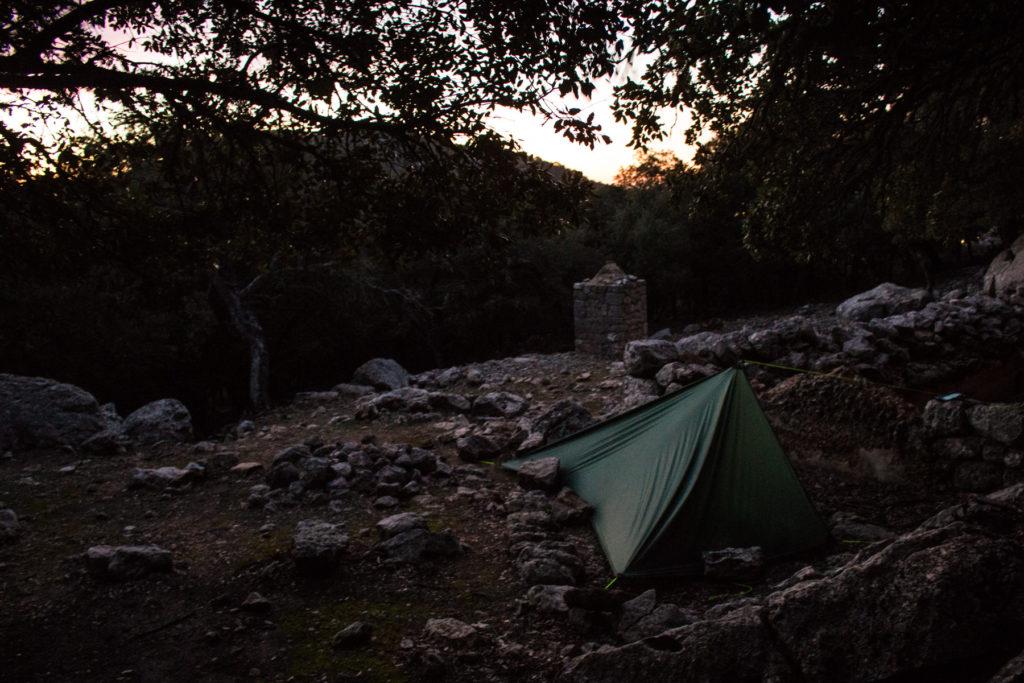 Schlafplatz am frühen Morgen