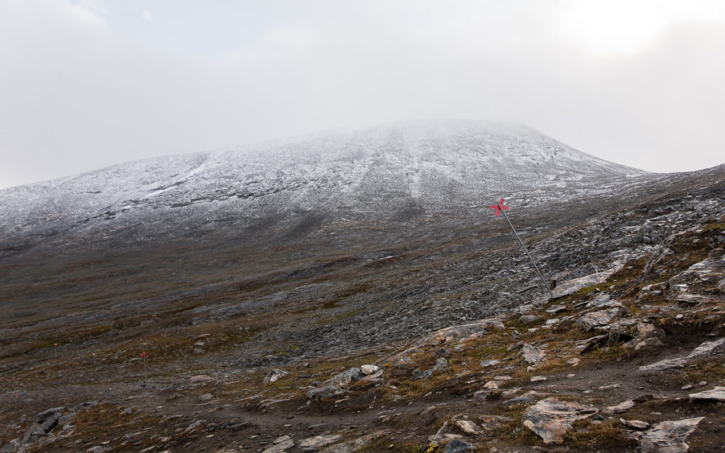 Wintermarkierung Schweden Kungsleden Tjäktjapass